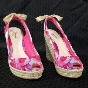 Coach Maritza peep toe wedged heels